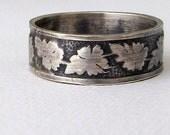 Oak Leaf Ring Mens Wedding Band Silver Wedding Ring Mens Wedding Ring Rustic Wedding Band