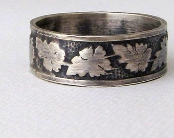Oak Leaf Ring Mens Wedding Band Silver Wedding Ring Mens Wedding Ring Rustic Wedding Band