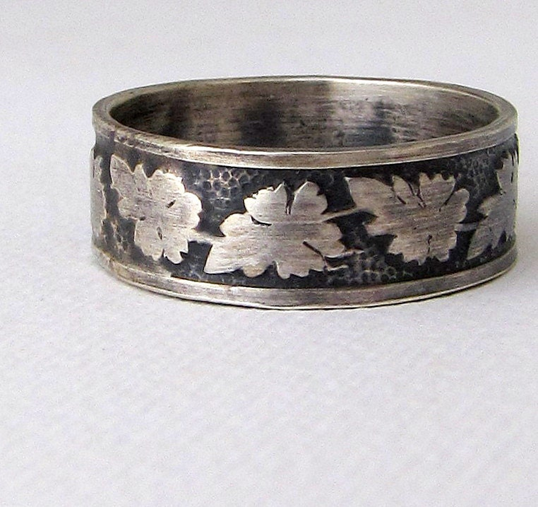 oak leaf ring mens wedding band silver wedding ring mens