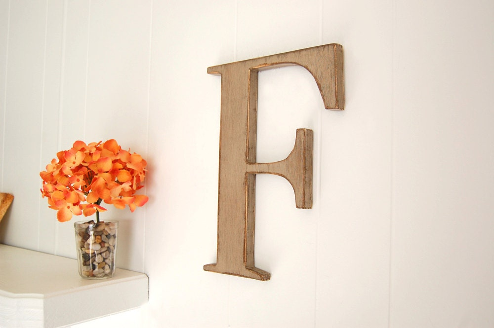 Letter f wall letter wooden shabby cottage decor by for Letter f decoration