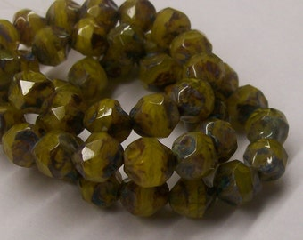 15ct 9mm Czech Fire Polished Mustard Yellow and Brown Nugget Beads