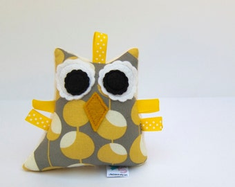 Stuffed Owl Plush Rattle Softie Baby Toy Small Owl Minky Mustard Yellow Grey Ivory