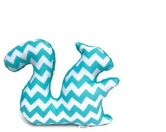 Plush Chevron Squirrel Stuffed Animal Softie Minky Aqua Teal White