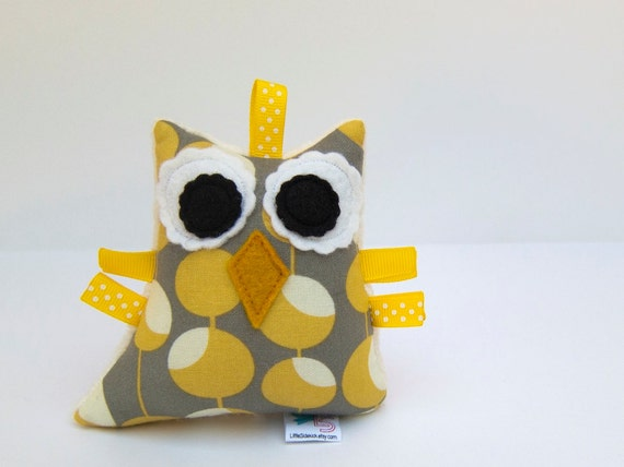 Stuffed Owl Plush Rattle Softie Baby Toy Small Owl Minky Mustard Yellow Grey Ivory