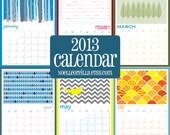 """2013 Wall Calendar - Large 8.5""""x12"""" size - 12 month calendar"""