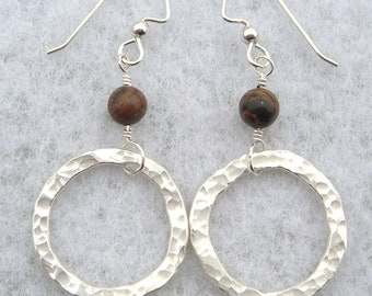 Tiger Iron and Hammered Hoop Earrings
