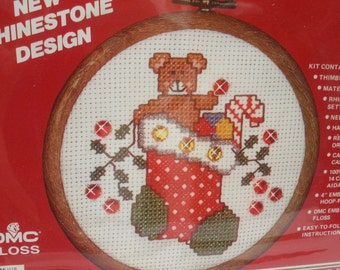 Vintage Teddy Bear in Stocking Counted Cross Stitch Kit