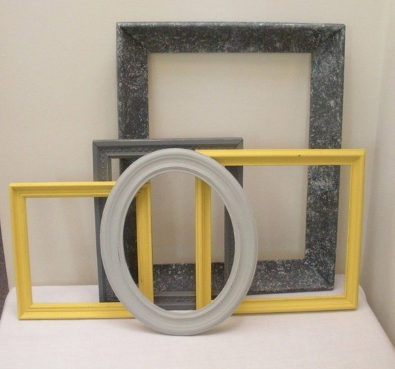 Handpainted Vintage Set of 5 Picture Frames - Grey Yellow