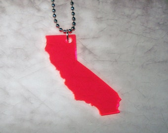 Neon California Necklace - Fluorescent Pink California Shape - State Pendant