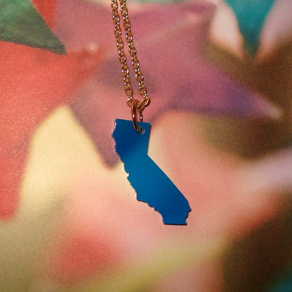 Blue Small California Necklace, Acrylic US State Pendant