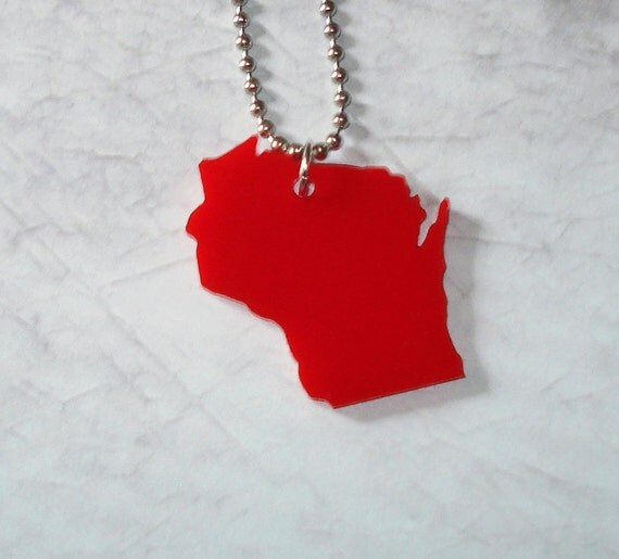Red Wisconsin Necklace, State Shape Necklace, Wisconsin Pendant, State Jewelry