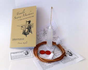 Treadle Sewing Machine Book, Imported Leather Treadle Belt, Oiler with Oil, Lint Brush and  Spool Pin Felts