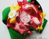 Boutique Medium size Strawberry shortcake Bow- Multilayered bows- Sunflower buttons- Strawberry ribbon.