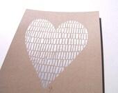 LINOCUT PRINT - silver heart on kraft paper Valentine print 8x10