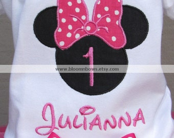 Personalized Minnie Mouse Birthday Shirt or Onesie