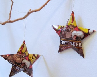 Mug Root Beer Stars Ornaments  Soda Can Upcycled