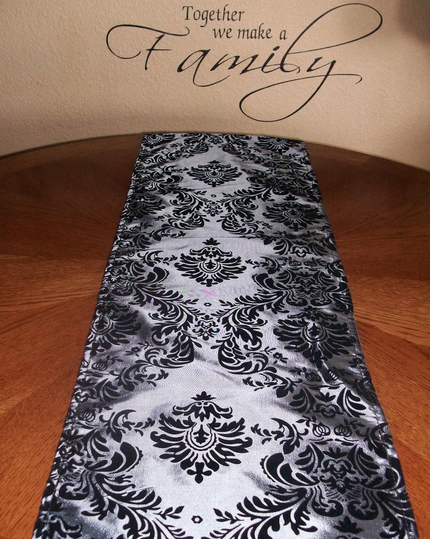 damask platinum silver gray table runner by designershindigs. Black Bedroom Furniture Sets. Home Design Ideas