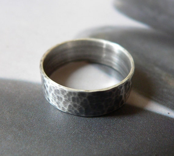 Mens ring, Sterling silver band ring, rustic hammered ring, metalwork, handmade, mens wedding band, gift for him, gift for husband, father