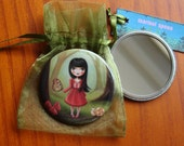 Woodland girl  pocket mirror Alice in wonderland inspired mirror The Bright Forest by Marisol Spoon