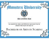 Monsters University Diploma - party printable - automatic delivery