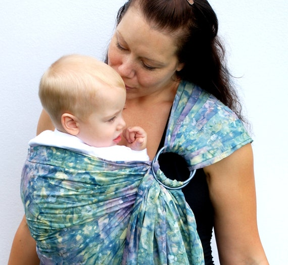 Baby Carrier Sling Batik Waterlilies extra Superwide Ring Sling - Standard or Petite length only - Ready to Ship in Standard length