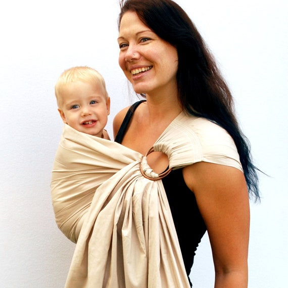 Ring Sling Baby Carrier Ginger Snap Baby Basics Superwide pleated - READY TO SHIP in Standard or Petite length Only