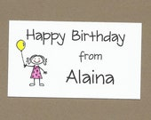 Stick Kids Calling Cards - Birthday Party Treat Bag Tags - Party Favor Tags - Gift Enclosure Cards
