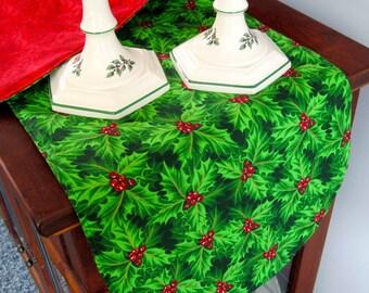 Green Holly Christmas Table Runner 36 Inch Reversible Green Holly Table Runner Red and Green Table runner