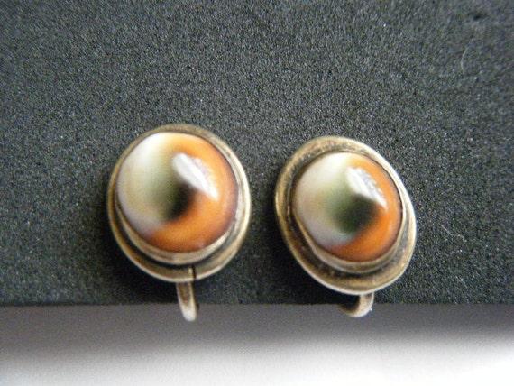 Operculum Vintage Earrings Evil Eye Sterling Silver Screwback