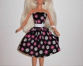 Cute floral dress and bag for barbie doll