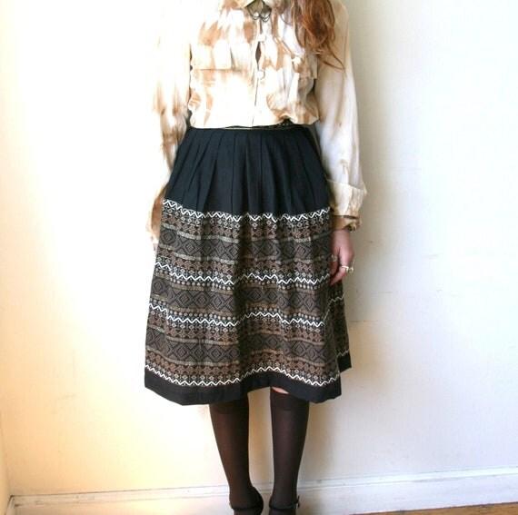 SALE 50s Black Guatemalan Skirt Sz XS 24