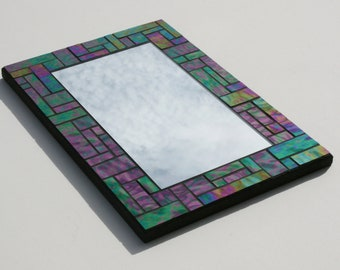 "Mosaic Mirror with Iridescent Spectrum Waterglass - Stained Glass Mosaic Mirror - 10"" x 14.75"""