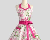 Sweetheart Retro Apron - Handmade Sexy Womens Apron in Cute Hot Pink Ruffles and Dogwood Blooms Cute Full Kitchen Apron