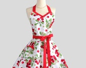 Sweetheart Retro Apron - Sexy Flirty Womens Apron in Flirty Retro Cherry Jubilee Cute Full Kitchen Apron
