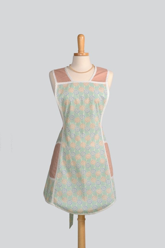 SALE 25% OFF Retro Full Kitchen Apron , Handmade Cute Womens Apron in Vintage Floral Ribbons On A Light Sea Green Background