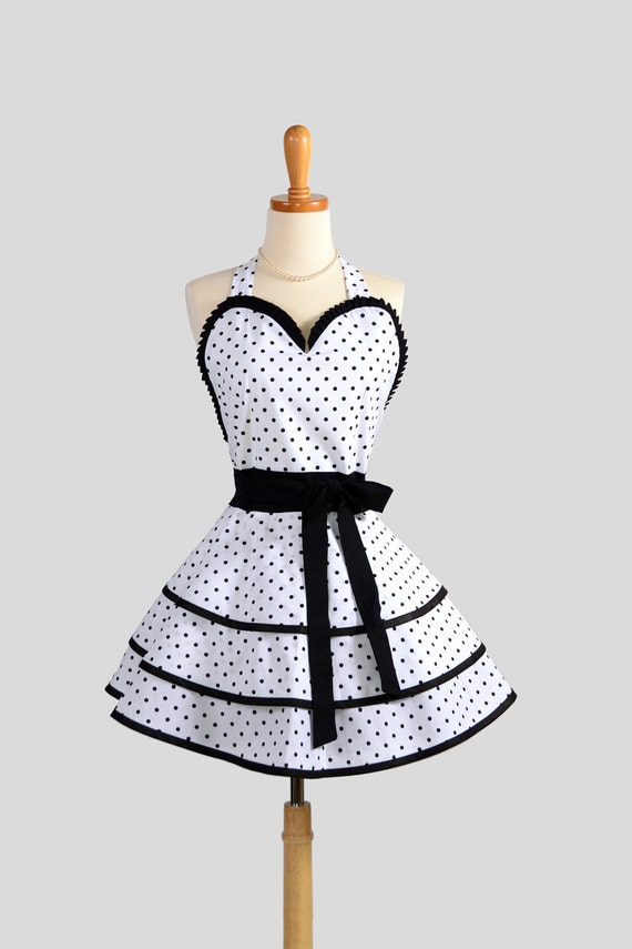 Sexy Retro Pinup Apron : Flirty and Cute White  Black Polka Dot Sweetheart Apron in Vintage Style Full Skirt