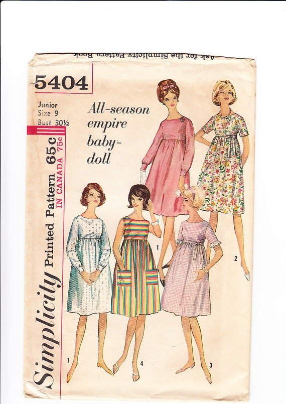 Vintage 1964 Simplicity 5404 Sewing Pattern Junior's, Misses' One-Piece Dress Size 9 Bust 30-1/2