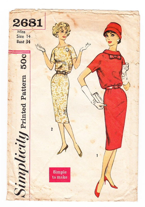 Vintage 1958 Simplicity 2681 Sewing Pattern Misses' One-Piece Dress and Belt Size 14 Bust 34