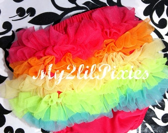 Rainbow Bloomers, Ruffle Bum Baby Bloomers. Baby Girl Bloomers, Newborn Bloomer,Ruffle diaper cover, Ruffle bloomer.cake smash ready to ship