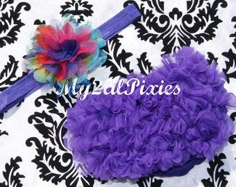 Baby Girl Headband And Purple Chiffon Ruffle bum Baby bloomer Diaper Cover Chiffon Ruffles - Photo Prop- MY2LILPIXIES