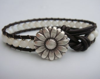Shell Beaded Leather Bracelet, Daisy Button