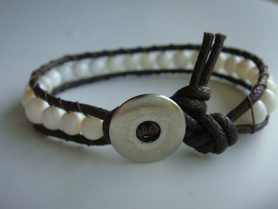 Shell Beaded Cotton Cord Bracelet