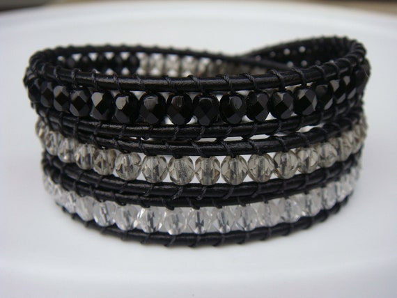 Black, Gray and Crystal Beaded Leather Wrap Bracelet