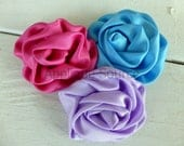 Satin French Twist Flowers - LAVENDER - Set of 2 Flower Appliques for DIY Hair Accessories Headband Bridal Accessories