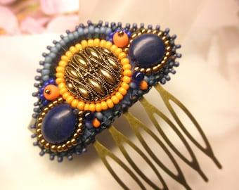 Elegant Vintage Bronze Button Blue Jasper Orange Glass Beads Tiny Antique Bronze HAIR COMB