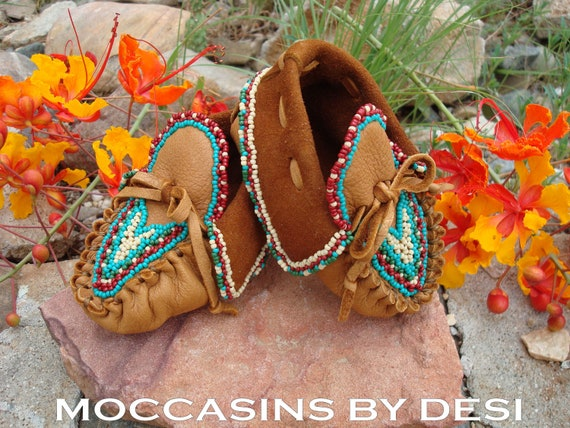 Baby Moccasins By Desi, Beaded, Deerskin leather, lots of beadwork