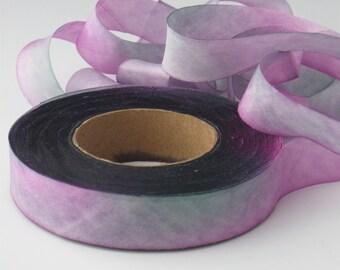 Hand dyed silk ribbon  bias-cut