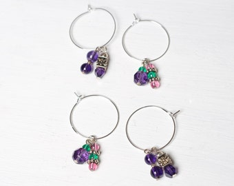 Purple Daze - Set of 4 Wine Charms Place Markers