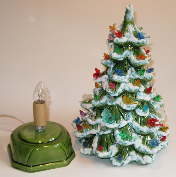 Vintage Ceramic Christmas Tree Bird Amp Butterfly Lights Flocked