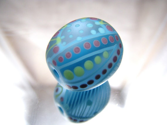 Moogin -  oval etched lampwork focal bead- SRA